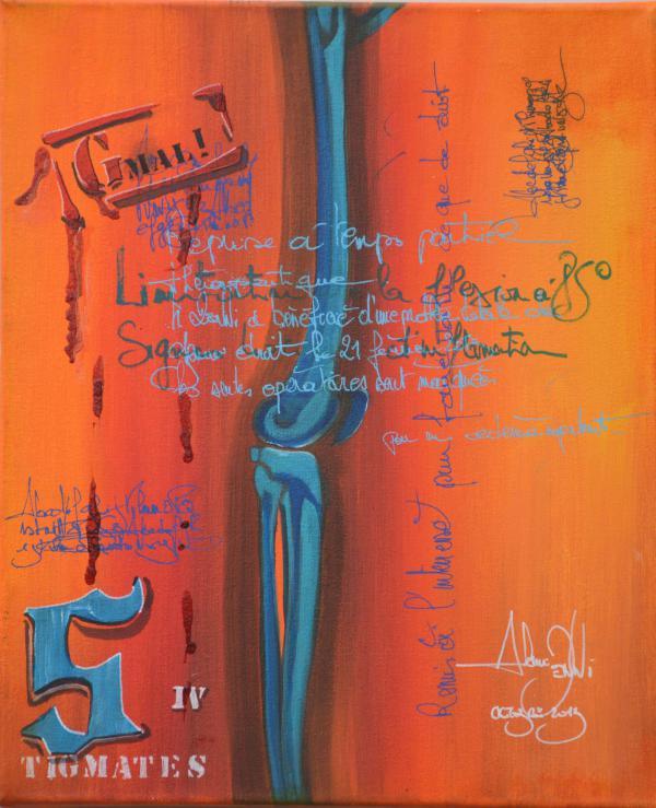 Peinture , série sur la souffrance ''Stigmates IV ''