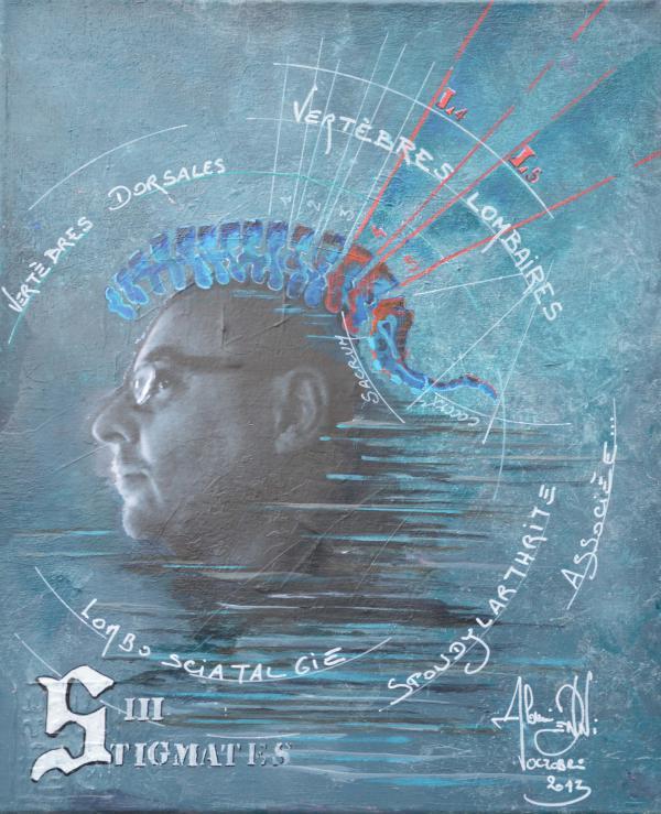 Peinture, série sur la souffrance '' Stigmates III ''