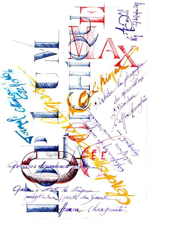 Calligraphie : essais  fin 2011.